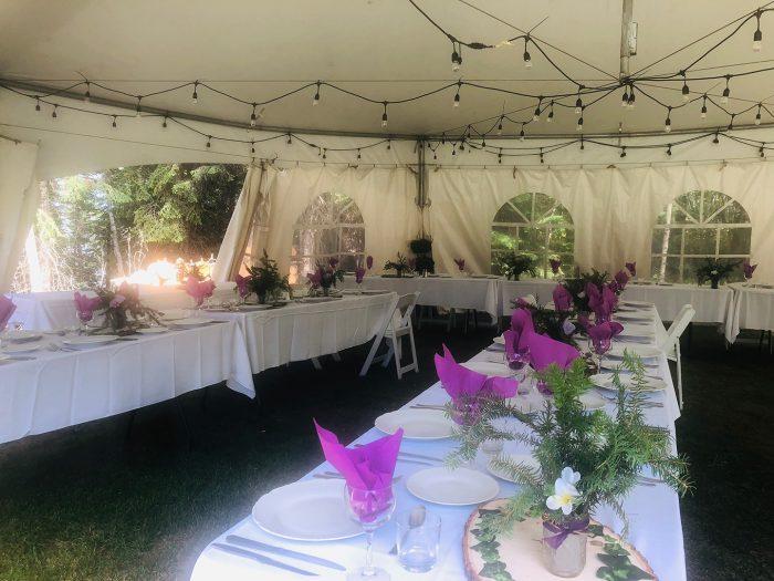 Cabin 6 Exterior Wedding Tent Setup