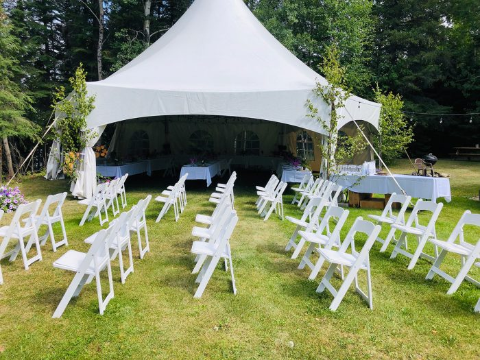 Cabin 6 Outside Isle And Tent Setup For Wedding Event